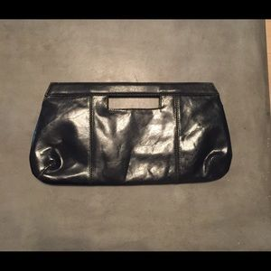 Handbags - Leather Black clutch with magnetic closure